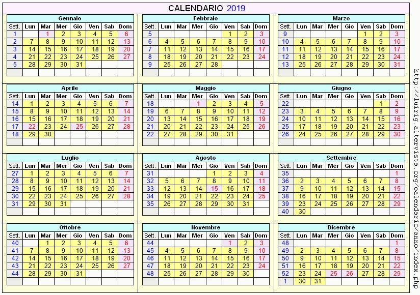 Calendario Enologico.Calendario Gennaio 2019 Con Santi E Fasi Lunari