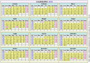 Calendario stampabile - 2019