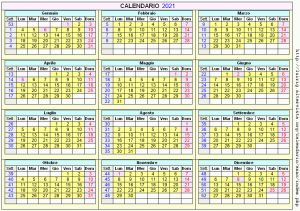 Calendario stampabile - 2021