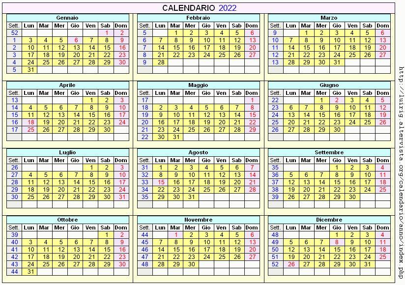 Calendario stampabile - 2022