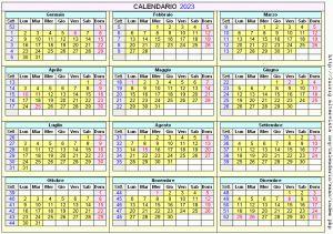 Calendario stampabile - 2023
