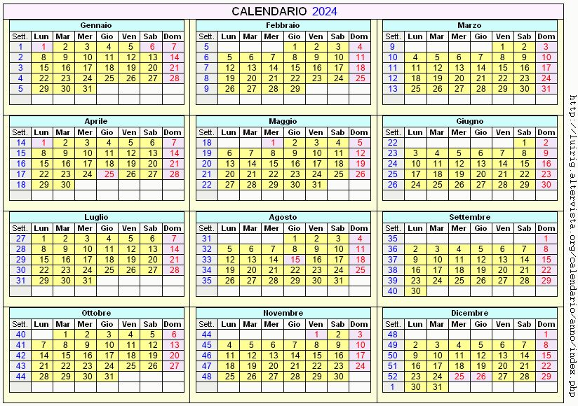 Calendario stampabile - 2024