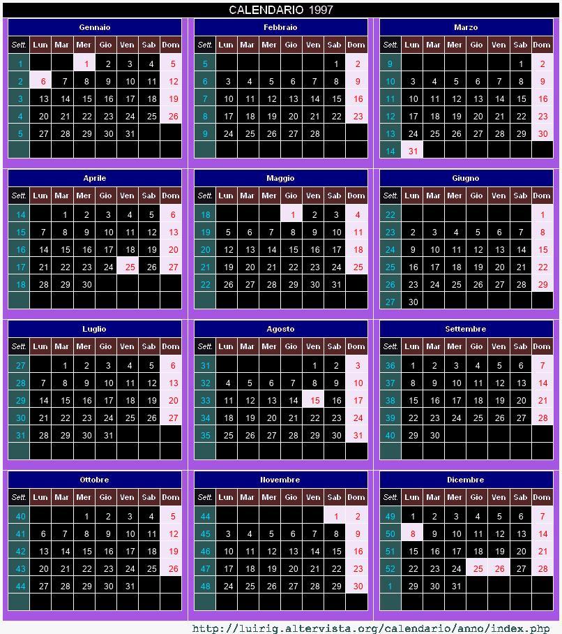 Calendario 1997