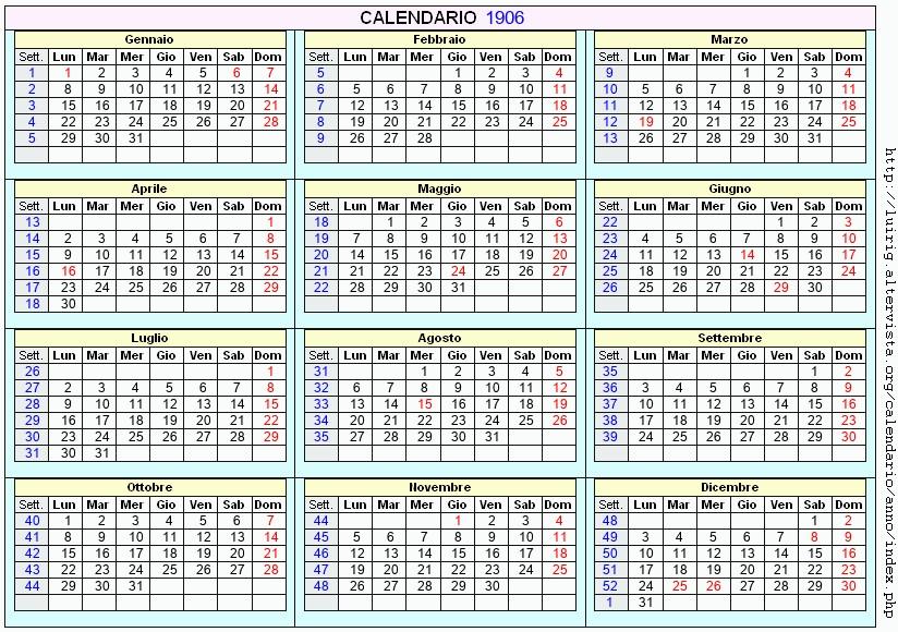 Calendario 1906.Calendario 1906 Da Stampare Con Festivita Santi E Fasi