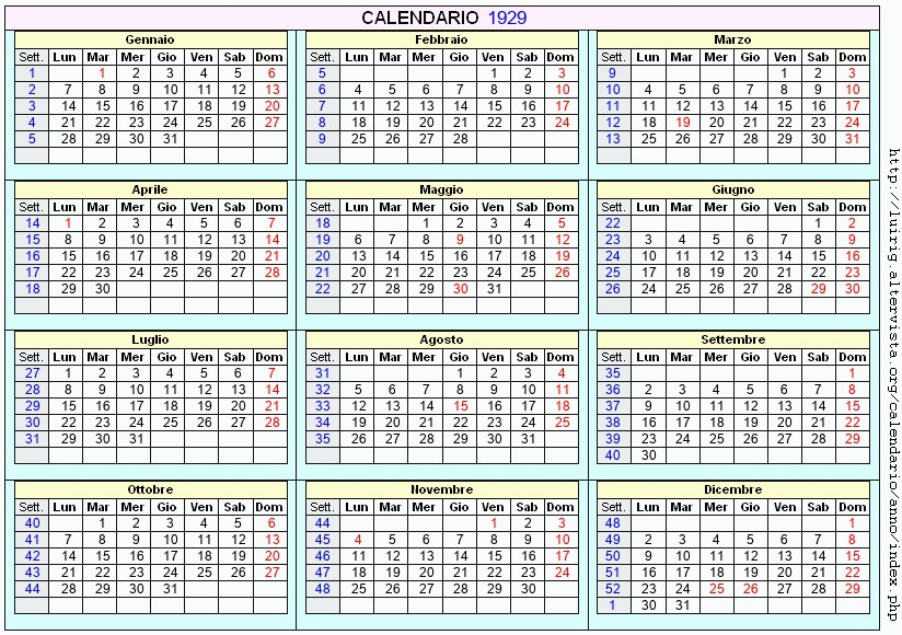 Calendario 1929.Calendario 1929 Da Stampare Con Festivita Santi E Fasi