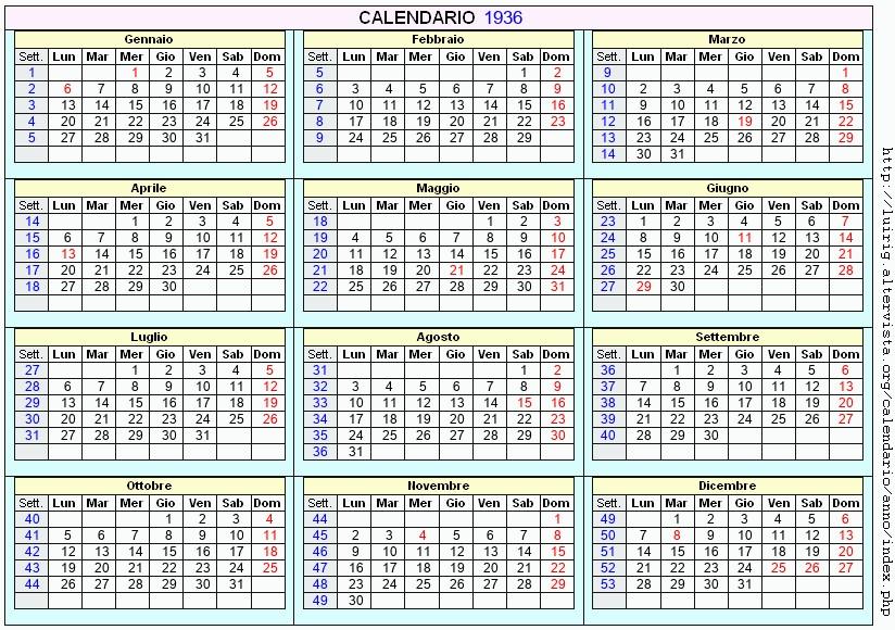 Calendario 1936.Calendario 1936 Da Stampare Con Festivita Santi E Fasi