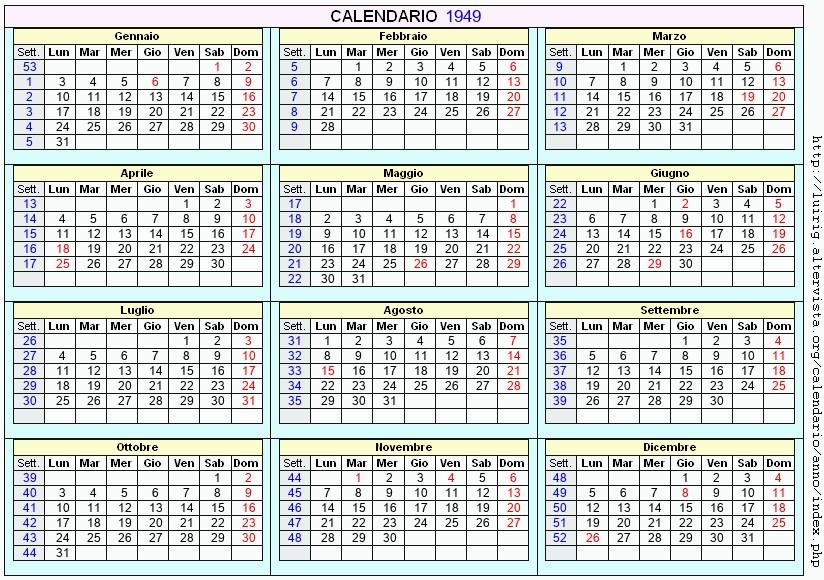 Calendario 1949.Calendario 1949 Da Stampare Con Festivita Santi E Fasi