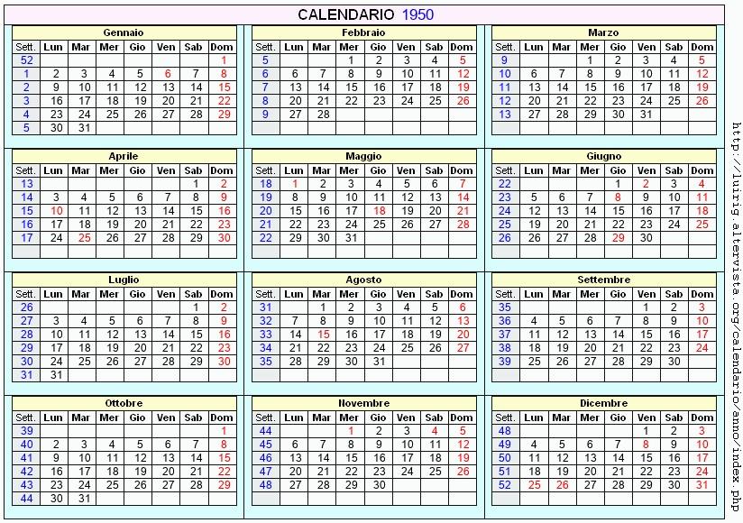 Calendario 1950.Calendario 1950 Da Stampare Con Festivita Santi E Fasi