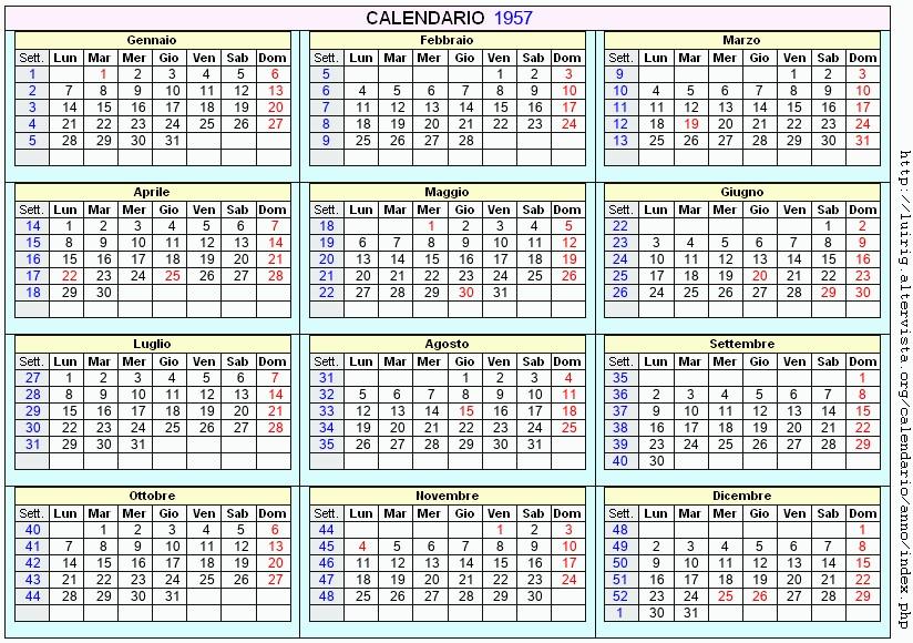 Calendario Del Ano 1957.Calendario 1957 Da Stampare Con Festivita Santi E Fasi