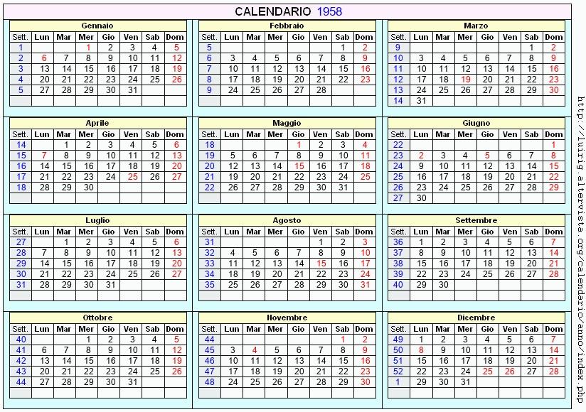 Calendario 1958.Calendario 1958 Da Stampare Con Festivita Santi E Fasi Lunari