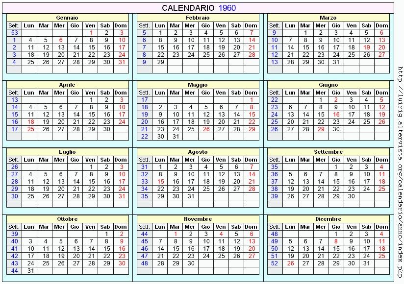 Calendario 1960.Calendario 1960 Da Stampare Con Festivita Santi E Fasi