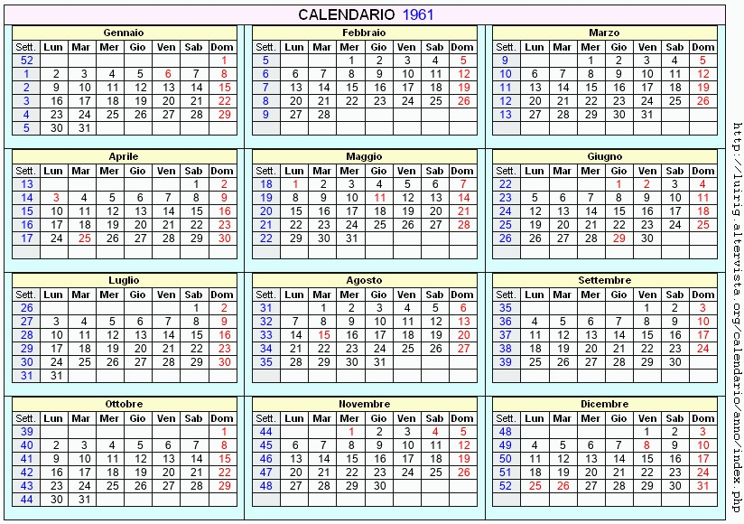 Calendario Del 1961.Calendario 1961 Da Stampare Con Festivita Santi E Fasi