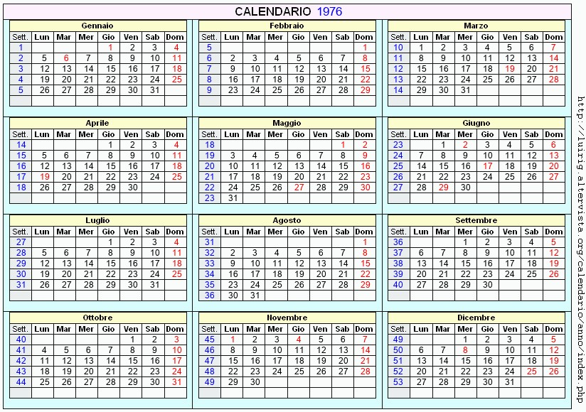 Calendario Colombia 2020.Calendario 1976 Calendario 2020