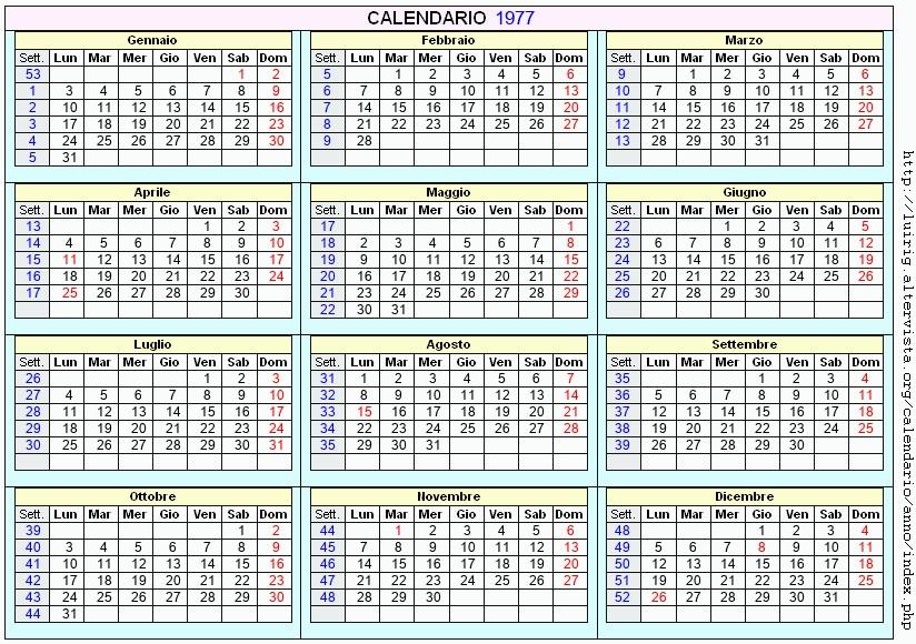 Calendario Del 1977.Calendario 1977 Da Stampare Con Festivita Santi E Fasi