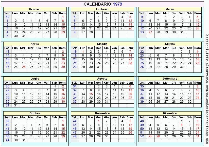 Calendario De 1978.Calendario 1978 Da Stampare Con Festivita Santi E Fasi