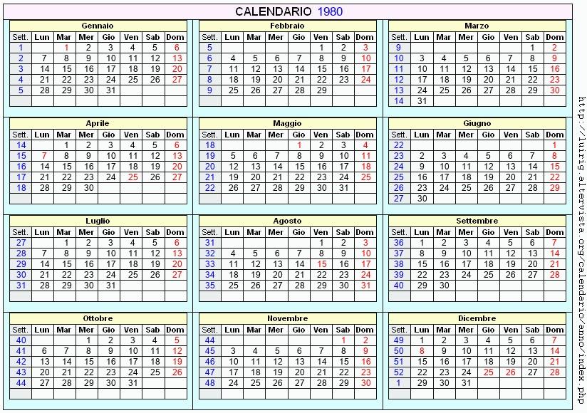 Calendario Anno 1980.Calendario 1980 Da Stampare Con Festivita Santi E Fasi