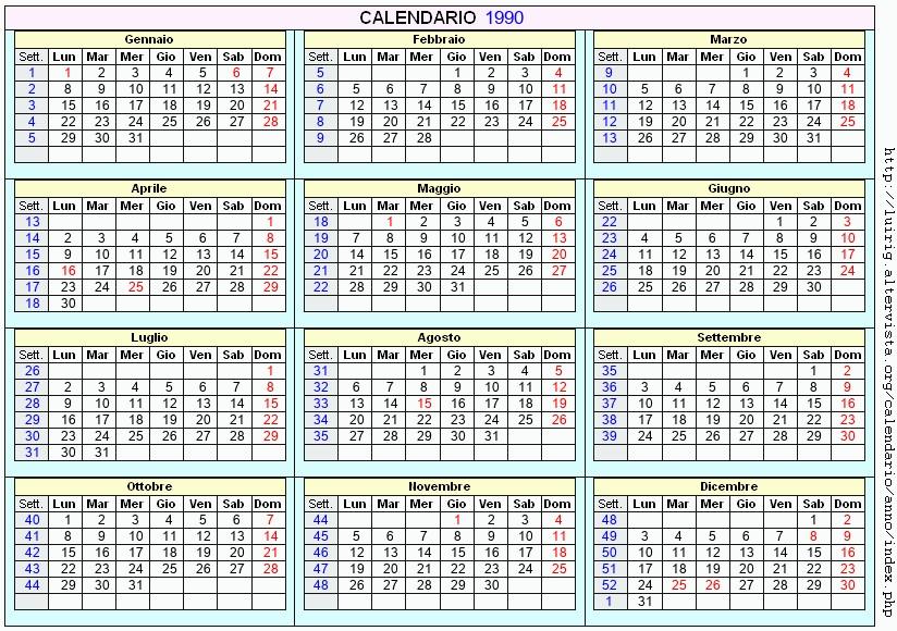 1990 Calendario.Calendario 1990 Da Stampare Con Festivita Santi E Fasi