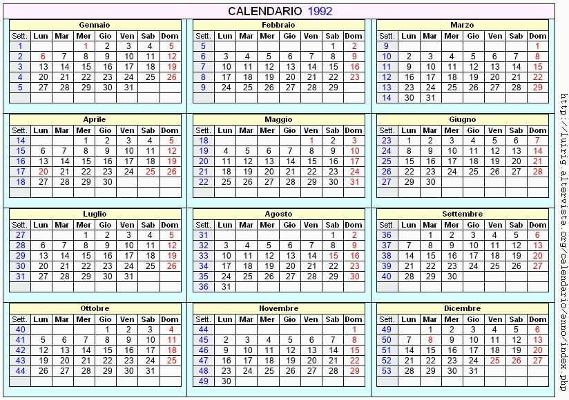 Calendario Anno 1992.Calendario 1992 Da Stampare Con Festivita Santi E Fasi
