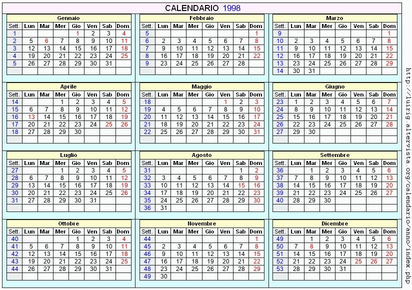 1998 Calendario.Calendario 1998 Da Stampare Con Festivita Santi E Fasi