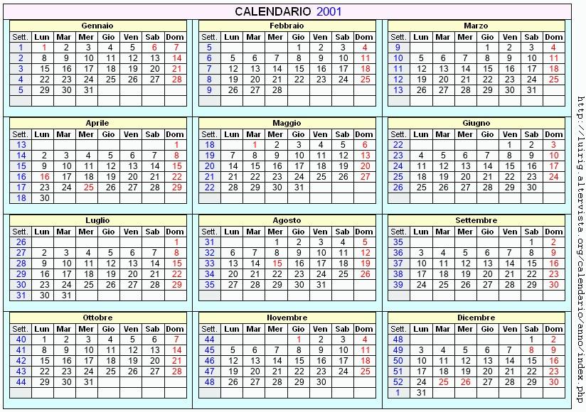 Calendario 2001.Calendario 2001 Da Stampare Con Festivita Santi E Fasi Lunari