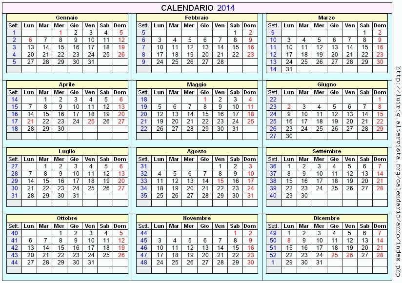 Calendario Anno 2014.Calendario 2014 Da Stampare Con Festivita Santi E Fasi