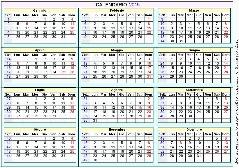 Calendario Anno 2015.Calendario 2015 Da Stampare Con Festivita Santi E Fasi