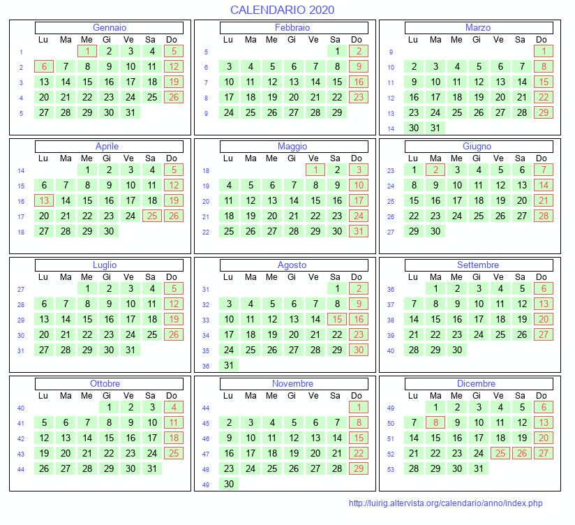 Calendario 2020 Settimanale Da Stampare.Calendario 2020 Da Stampare Con Festivita Santi E Fasi
