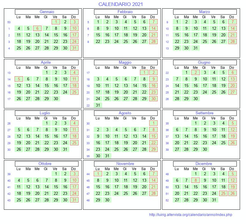 Calendario 2021 da stampare   Con festivita', santi e fasi lunari