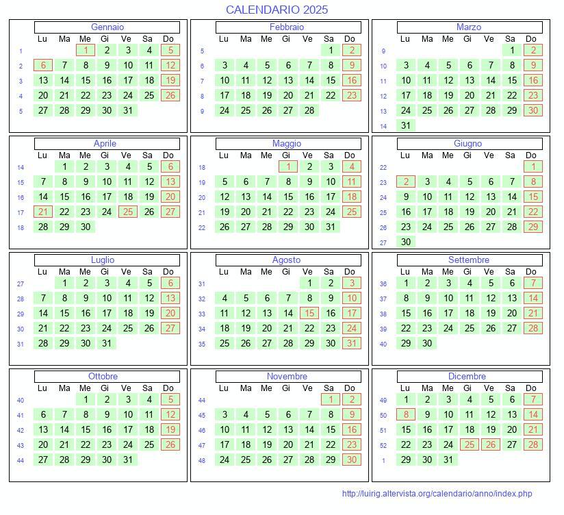 Calendario 2021 Con Festivita Da Stampare.Calendario Anno 2025