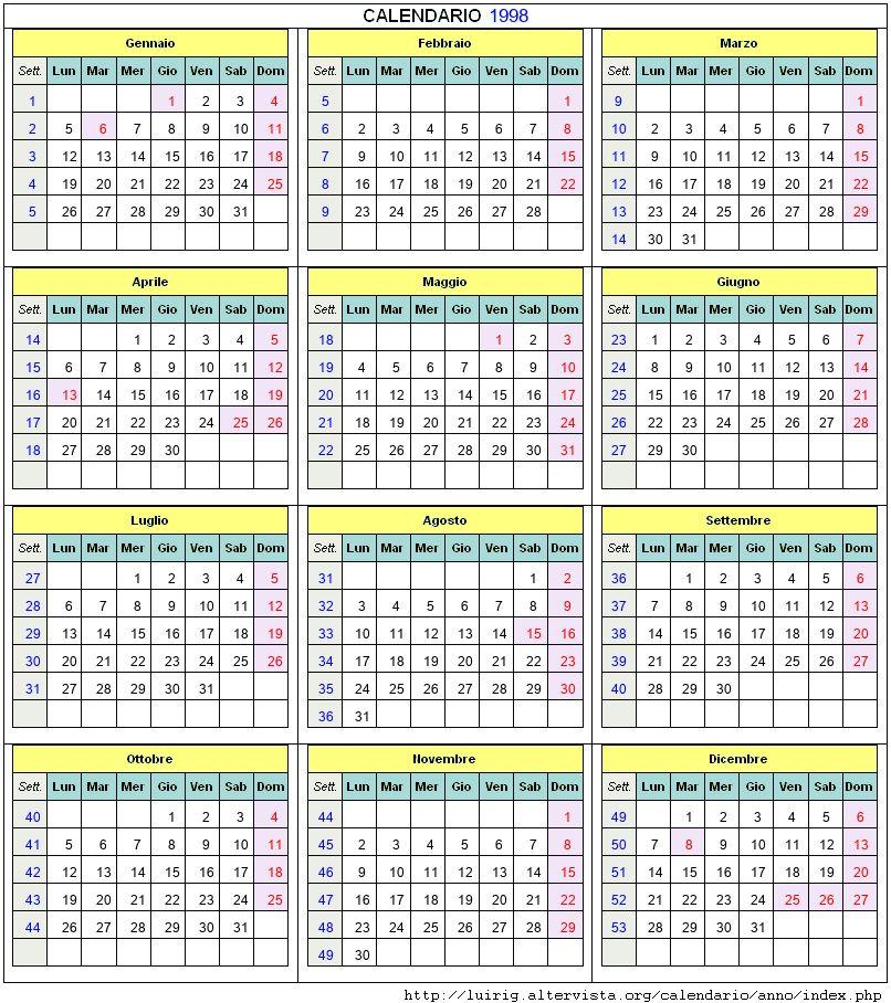 Calendario 1998