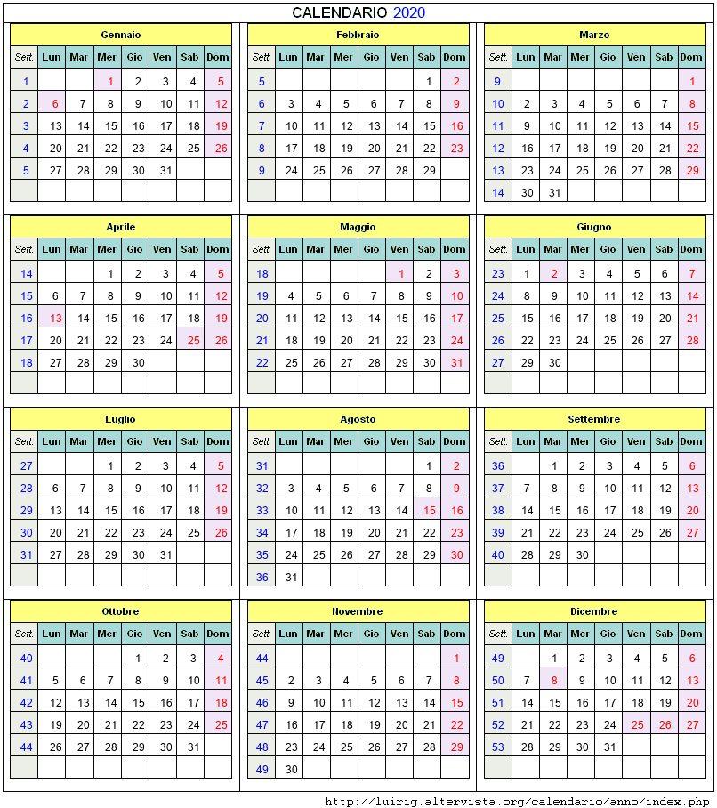 Calendario 2020 Editabile.Calendario 2020
