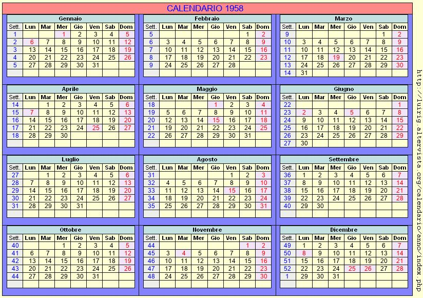 Calendario stampabile - 1958