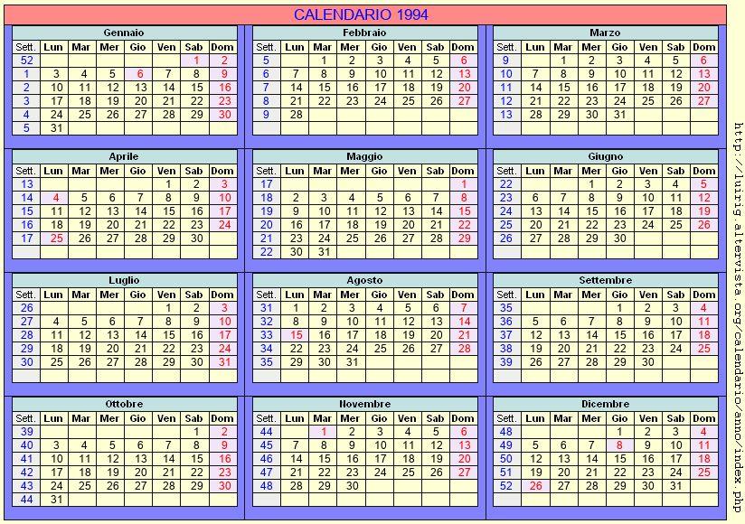Calendario stampabile - 1994