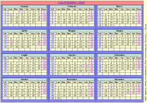 Calendario stampabile - 2020