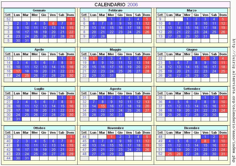 Calendario stampabile - 2006