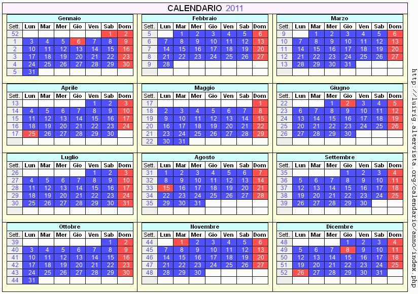 Calendario stampabile - 2011