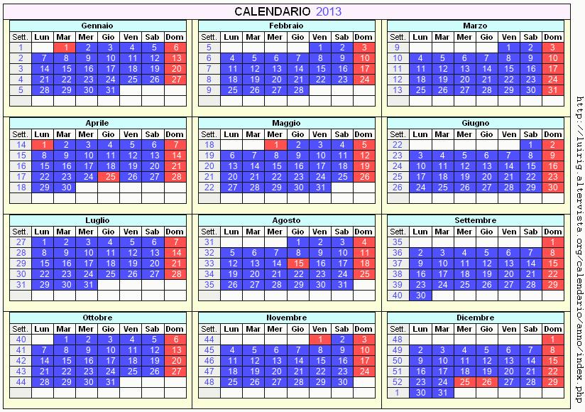 Calendario stampabile - 2013