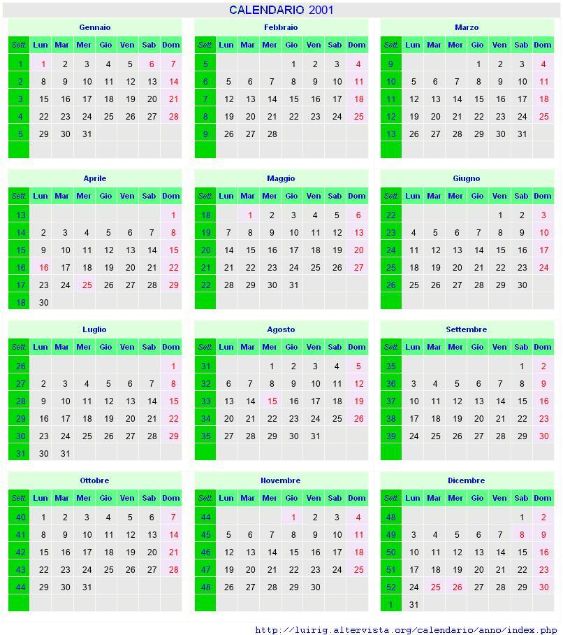 Calendario 2001.Calendario Agosto 2001 Con Santi E Fasi Lunari