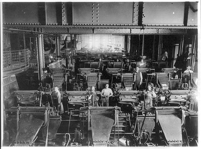 Linotype machine, printing room, N Y  World] (1) - Photo