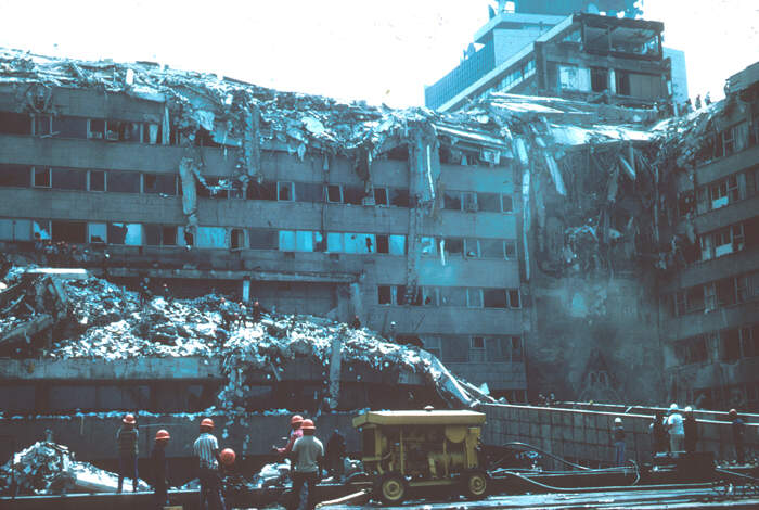 Mexico City Earthquake, September 19, 1985. Collapsed ...