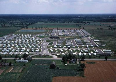 A trailer park occupies former farmland near Belleville, MI.