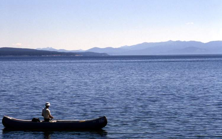 Fishing from a canoe on yellowstone lake 1 photo for Yellowstone lake fishing